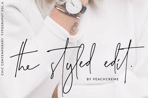 "The Styled Edit, letras ""chic"" a mano."