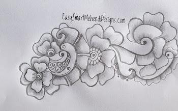 Peacock Flower tattoo design Motif from body ,Rangoli and mehndi