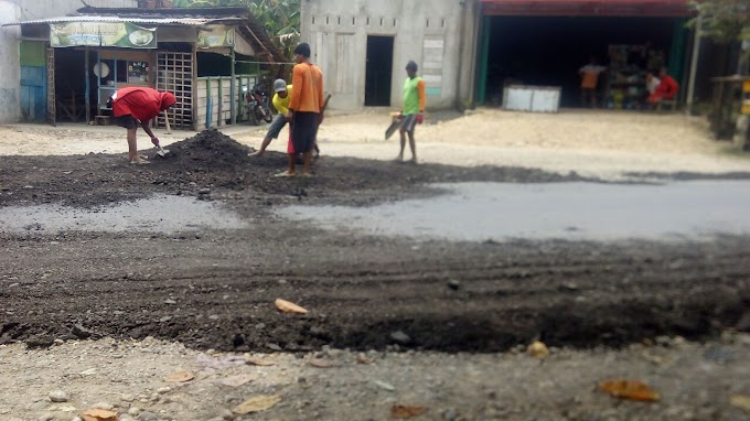 Limbah Aspal Bekas Dipakai Untuk Tambal Sulam Jalan Provinsi