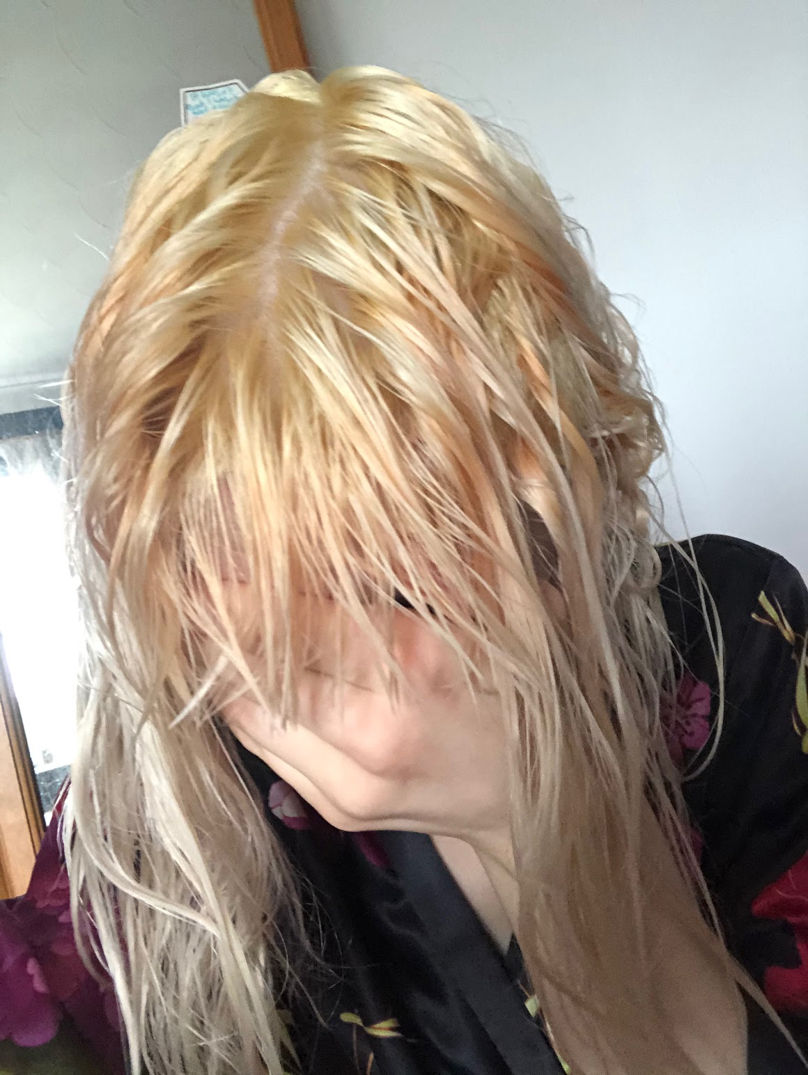 My freshly bleached roots before applying bleach london champagne super toner. They're pretty yellow tbh