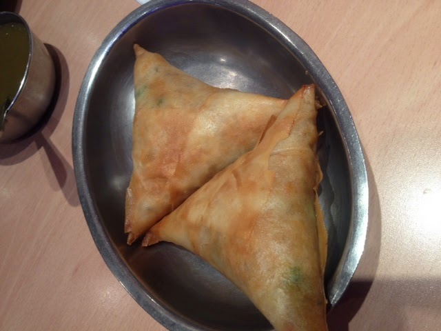 Vegetable samosas at Chawallas Indian Vegetarian restaurant