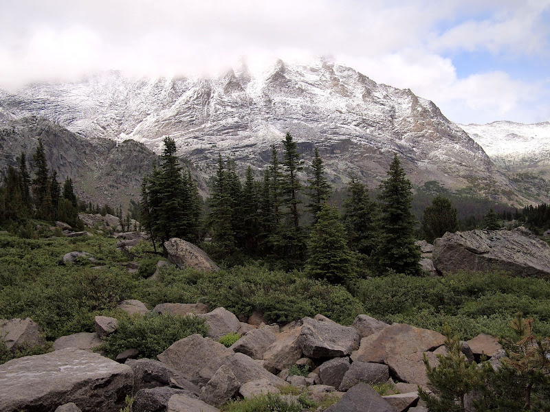 Snow in mid-July in the Cirque of Towers