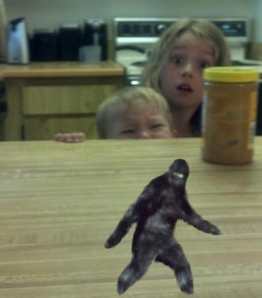 Sasquatch on the lunch counter children peering