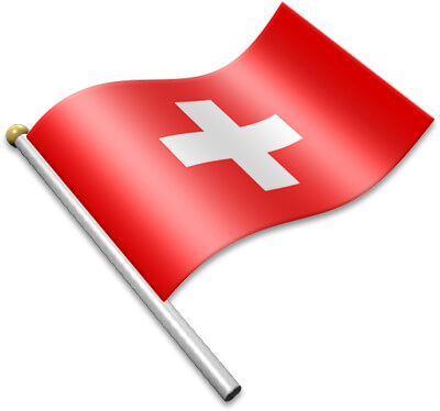 The Swiss flag on a flagpole clipart image