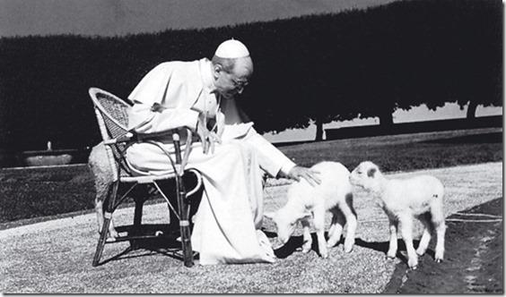 Pius XII Lämmchen streicheln