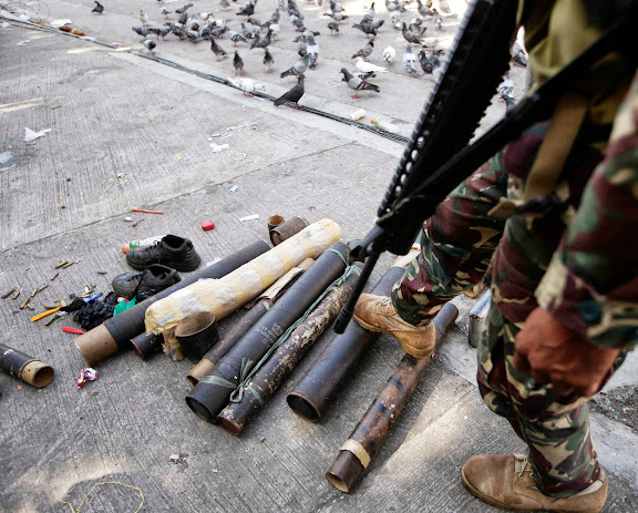 Mortar casings recovered from MNLF rebels in Zamboanga City