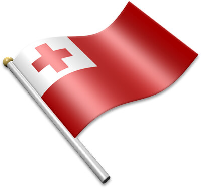 The Tongan flag on a flagpole clipart image