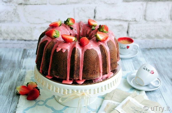 """Surprise Inside"" Chocolate Bundt Cake With Strawberry Glaze -  Valentine's Day Dessert   http://uTry.it"