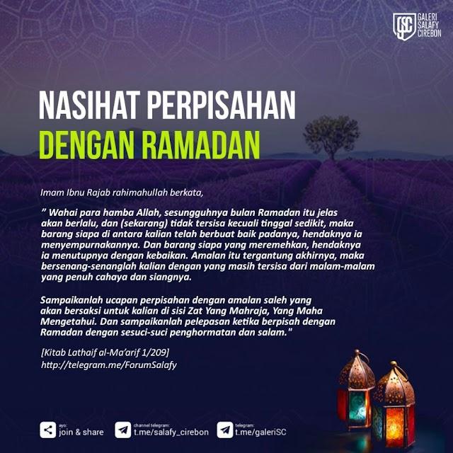 Nasihat perpisahan dengan Ramadhan