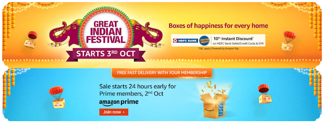 Amazon Great Indian Festival Starts Early on 3rd October