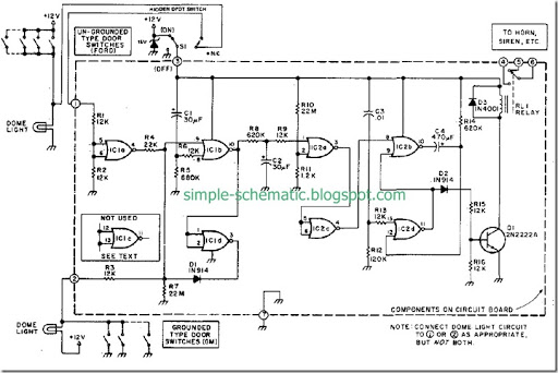 diy car vehicle security system design circuit diagram simple rh simple schematic blogspot com Doorbell Circuit Schematic Drawing Infrared Alarm Circuit