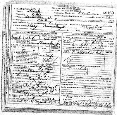 "Mary ""Poly"" Brumbaugh Death Certificate"