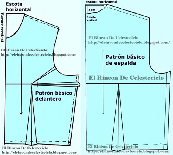 Trazando escote delantero y espalda en patrones