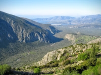 View to Kirra from Delphi. The Plestos river olive groves