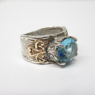 14K Gold & Sterling Blue Stone Ring