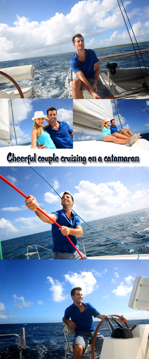 Stock Photo: Cheerful couple cruising on a catamaran in Caribbean sea 4