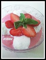 Mousse à la fraise et ses iles flottantes - recette indexée dans les Desserts