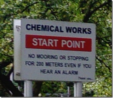 3 chemical works mooring sign