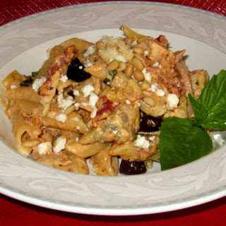 Mediterranean Penne with Roasted Chicken, Feta and Pine Nuts