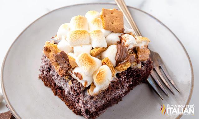 Marshmallow Smores Poke Cake