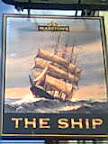 beautiful cream pub sign of tall blue sailing ship in full sail & heavy surf