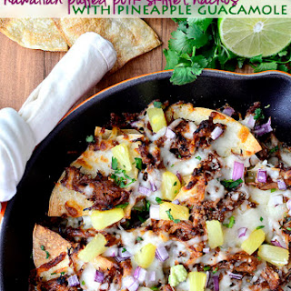 Hawaiian Pulled Pork Skillet Nachos with Pineapple Guacamole.