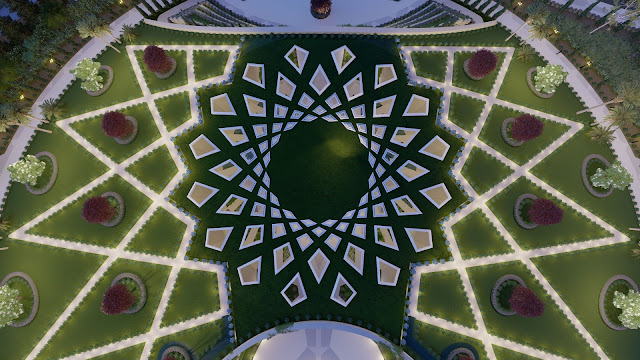 Дизайн Святилища Абдул-Баха, вид сверху
