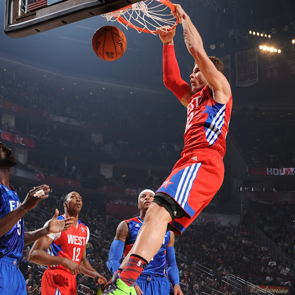 Blake Griffin #32 of the Western Conference All-Stars dunks during the 2013 NBA All-Star Game on February 17, 2013 at Toyota Center in Houston, Texas.