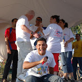 Fellow missionary Fredy Vasquez stirred up the crowd...