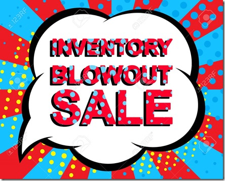 Sale poster with INVENTORY BLOWOUT SALE text. Advertising vector banner