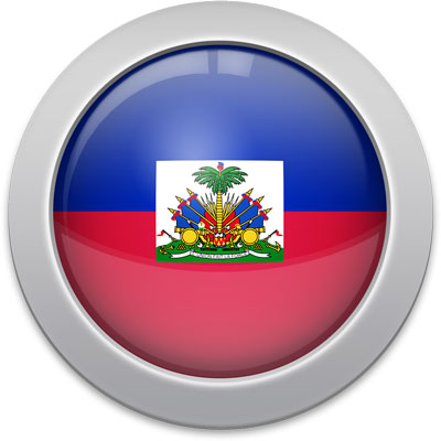 Haitian flag icon with a silver frame