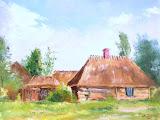 chaty w Kuligowie, olej, płótno, 40x50cm