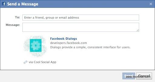 Dialogo del boton Enviar en Facebook