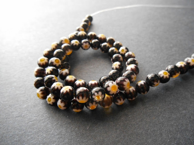 Black and Yellow Vintage Millefiori