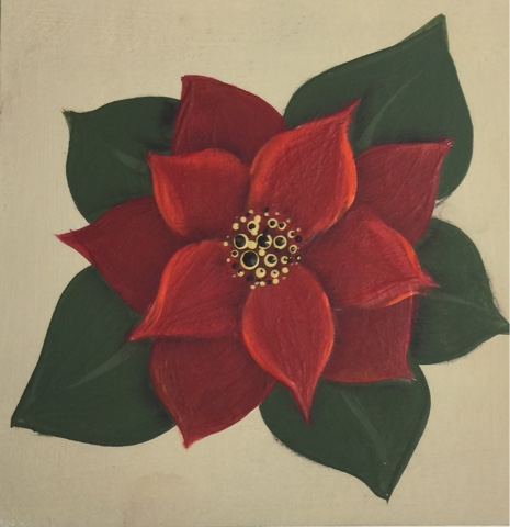 Add further highlights to the Poinsettia with another layer of DecoArt Americana acrylic in Cadmium orange