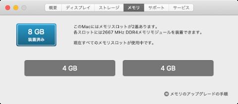 デフォルトでは4 GB 2枚の合計8 GB載っている