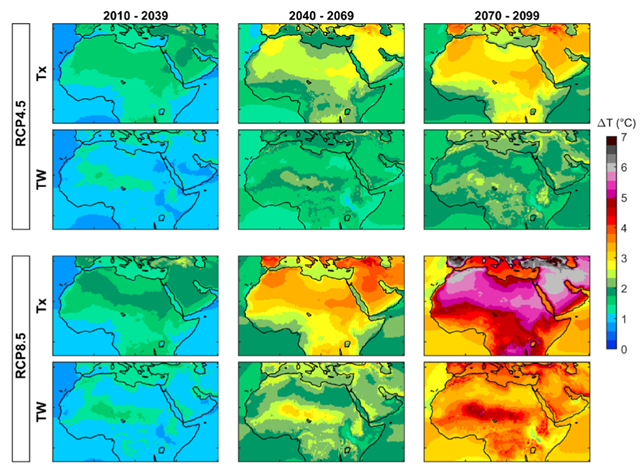 Decadal mean changes of maximum near-surface air temperature (ΔTx) and wet-bulb temperature (ΔTW) for 30-year future periods in the Middle East and North Africa. The figure is generated using the results of the ensemble mean of 17 RCMs. Graphic: Ahmadalipour Moradkhani, 2018 / Environment International
