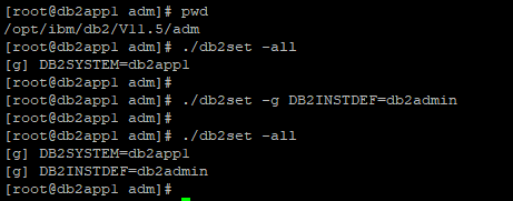 db2set -g DB2INSTDEF=db2admin