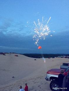 Fireworks behind us