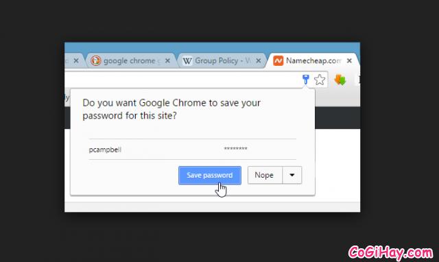 Không lưu mật khẩu vào trình duyệt
