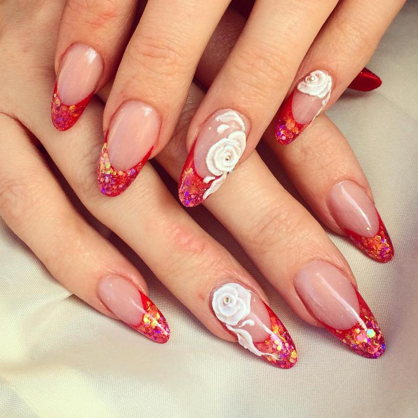 Pretty Dotted Summer Red Nail Art Designs 2017 - Styles Art