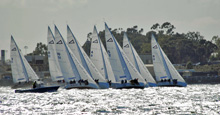 J/105 sailboat fleet sailing upwind in San Diego Lipton Cup