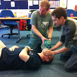 Casualty Care for Lifeboat Crew course – April 2011: crew using bag and mask to provide assisted breathing