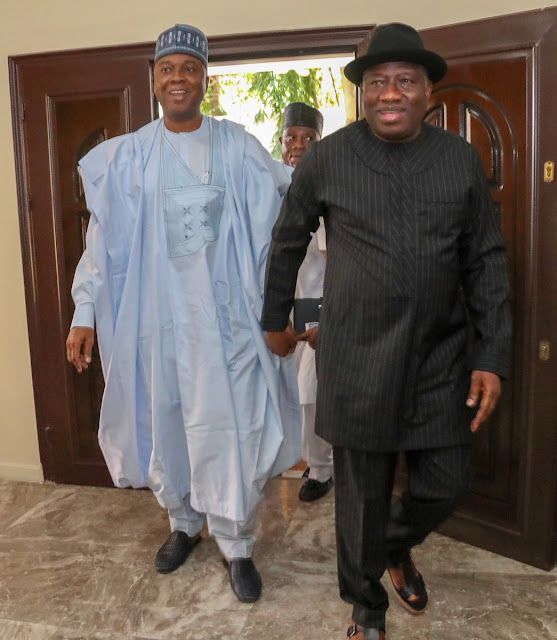 Bukola Saraki Visits Goodluck Jonathan In Abuja (Photos)