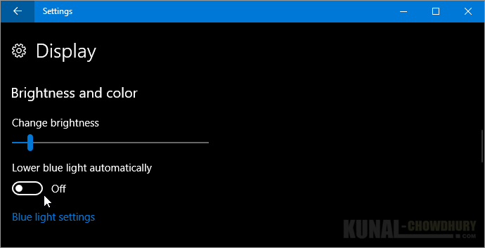Lower blue light automatically on Windows 10 Creators Update (www.kunal-chowdhury.com)