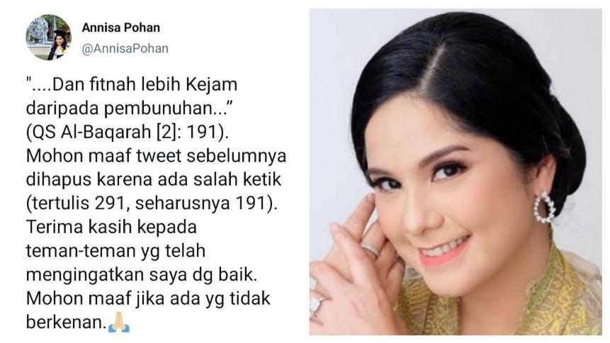 Hapus Tweet soal Al Baqarah 291, Annisa Pohan: Terima Kasih Sudah Mengingatkan Saya dengan Baik