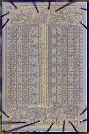 Die photo of the Intel 3101 64-bit RAM chip. Click for a larger image.