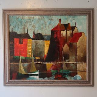 Scandinavian Harbor Scene Painting