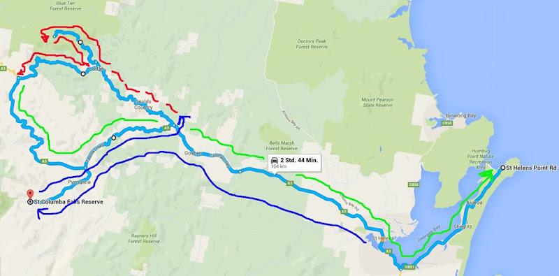 z6 von St. Helens zu Columba Falls und Blue Tier tracks