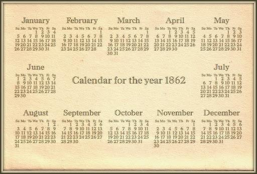 Calendar for the year 1862